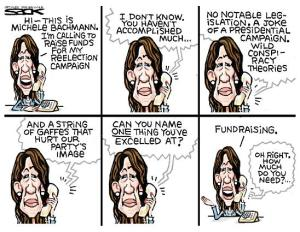 Bachmann Fundraising Sacks Cartoon